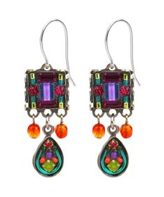 TEMPORARILY OUT OF STOCK - NEW! - Multi-Color Mosaic Square Earring w/Drop 6483 - Firefly Jewelry $33.75