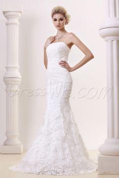 アメージングなチャペルのウェディングドレス トランペット/マーメイド ストラップレス レース  9691367 - レース ウェディングドレス - Dresswe.Com