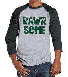 Men's Dinosaur Shirt - Rawrsome Dino Grey Raglan - Funny Mens Shirts  - Awesome Dinosaur Shirt - Dinosaur Gift Idea for Him - Dino Lover