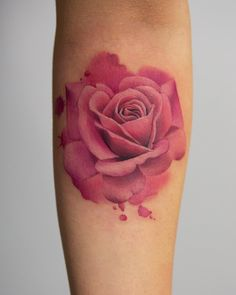 amazing watercolor rose tattoo by Joice Wang from Bang Bang NYC