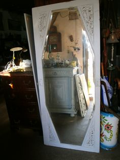 Shabby Chic Vintage French Painted Mirror Door,Armoire,distressed Grey.
