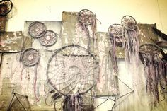"""Relinquishing Anguish"" [2013] by Ellen Greco #ecoart #naturaldye #noglue #dreamcatcher #color #sculpture #art"