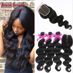 8A Brazilian Body Wave With Closure Human Hair Bundles With Lace Closures Brazilian Virgin Hair With