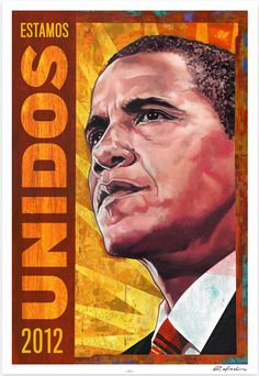 """Rafael López, """"We are United,"""" Poster for Artists for Obama, Obama Poster, Political Logos, Obama 2008, Barack And Michelle, Branding, Beautiful Posters, High Contrast, Cool Posters, Barack Obama"""