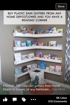 Book shelf idea for kids rooms. Awesome!
