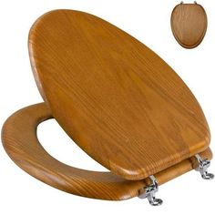 Oak-Toilet-Seat-Elongated-Bowls-Wood-Solid-Butterfly-Hinges-Bathroom-Decor-New