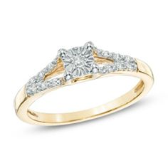 Diamond Accent Split Shank Promise Ring in 10K Gold  - Peoples Jewellers