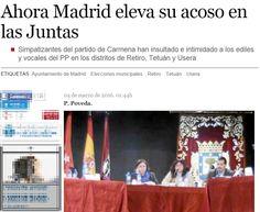 Insultar, intimidar e, incluso, amenazar a los vocales vecinos y concejales del Partido Popular en las Juntas de distrito se ha convertido en una constante en algunos de los plenos celebrados en las últimas semanas. «Fascistas», «asesinos», «sinvergüenzas», «cavernícolas» o «hijos de puta» han sido algunos de los descalificativos que los miembros de las bancadas populares han tenido que escuchar de boca de los simpatizantes de Ahora Madrid que acuden a presenciar estos debates.