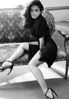 Salma Hayek in black and white.