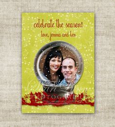 """christmas card holiday greetings family picture card """"celebrate the season"""" snow globe  @Cardtopia Designs"""
