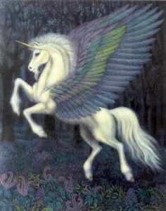 Unicorn with colored wings
