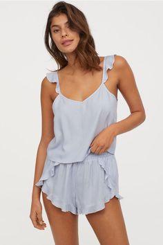 Pyjama strappy top and shorts - Light blue/White striped - Ladies Summer Pajamas, Cute Pajamas, Holiday Pajamas, Satin Pyjama Set, Pajama Set, Satin Pjs, Sleepwear Women, Loungewear, Pyjamas