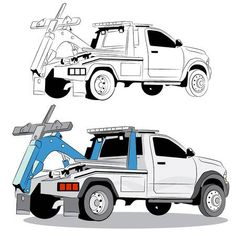Illustration of Tow truck. vector art, clipart and stock vectors. Truck Coloring Pages, Coloring Sheets, Tow Truck Driver, Towing Company, Towing And Recovery, Jr Art, Truck Art, Rc Trucks, Car Drawings