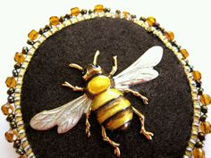 Honey Bee Beaded Brooch Summertime Statement Piece Unique Jewelry Slow Fashion by SusanBrackettDesigns on Etsy
