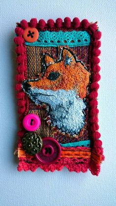 Fox embroidered brooch fox brooch statement by LilCritterDesigns