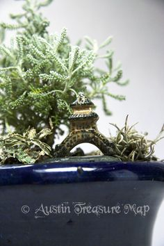 Zen. Fairy Garden. Japanese pagoda - only 1.5 inches tall!  With a tiny Spanish moss and some lichen, and a Santolina Gray plant.