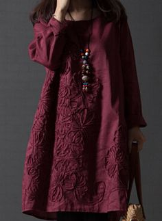 Cheshanf Fall/winter 2017 New plus size ladies literary clean loose embroidery cotton Long sleeve dress Free shipping-in Dresses from Women's Clothing & Accessories on Aliexpress.com | Alibaba Group