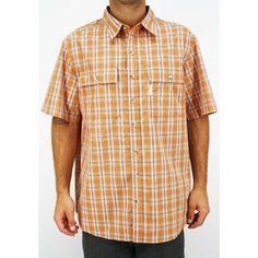 -Columbia Men's Utilizer Trail Orange Plaid Short Sleeve Shirt AM7164-843