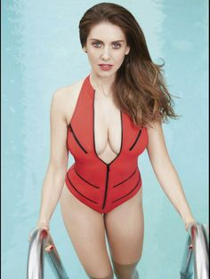 Alison Brie low cut red swimsuit for GQ Mexico