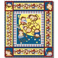 Henry Glass Fabrics Monkey Business Barb Tourtillotte Crib Size Quilt Kit - 38 by 44 inches Hancocks Of Paducah, Monkey Business, Quilt Kits, Quilt Top, Cribs, Fabrics, Kids Rugs, Quilts, Glass