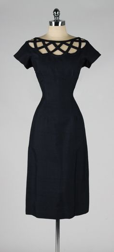 vintage 1950s dress . blue lattice . wiggle by millstreetvintage