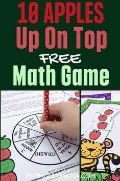 """This super cute printable math game is perfect to play with the book, """"Ten Apples Up On Top!"""" Kids can practice counting and adding and subtracting to 10! Plus, it's a great way to combine math and reading! #applemath #mathgame #applemathgame #addition #subtraction #mathandreading Easy Math Games, Free Math Games, Math Card Games, Free Printable Math Worksheets, Fun Math Activities, Math Games For Kids, Kindergarten Math Worksheets, Math Resources, Free Printables"""