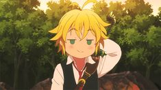 Nanatsu no Taizai ~ GIF of Mediolas -- Dragon's Sin of Wrath -- talking about how he sold his sacred weapon for money
