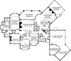 First Floor Plan of Country   European   Hillside   House Plan 85611  Stunning!