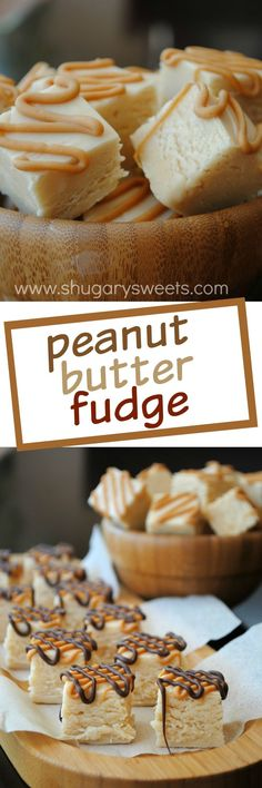 Peanut Butter Fudge with a chocolate drizzle! So delicious and soft.