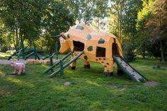 Spielplatz im Park Laucha von der Firma spielart GmbH Park, Beer Garden, Playground, Water Pond, Photo Illustration, Parks