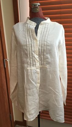 NEW LL Bean 100% Linen White Pintuck Button Up Tunic Mandarin Collar Sz 2XL NWT #LLBean #Tunic #Linen