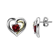 Heart-Shaped Lab-Created Ruby and Diamond Accent Stud Earrings in Sterling Silver and 14K Gold
