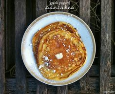 YOGURT PANCAKES: 6 oz of fat free plain Greek yogurt 2 egg whites (or one egg) 1 tsp vanilla extract 1/2 cup flour 1 tsp baking soda a few dashes of cinnamon
