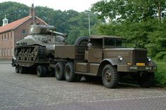 In its original status Diamond T with Roger trailer and Sherman tank