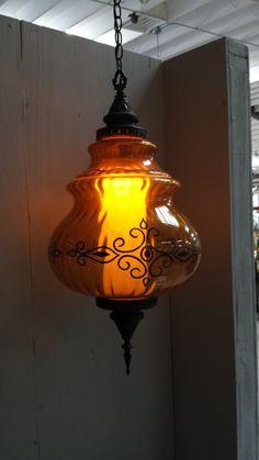 Vintage hanging light - hanging lamp - swag lamp - amber