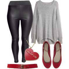 Plus size style and fashion. A touch of red.