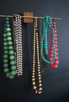 Dowel rod across the top would be perfect for bracelets can use s can use s hooks on bottom dowel rod for necklaces rather than hooks beauty pinterest jewellery solutioingenieria Choice Image