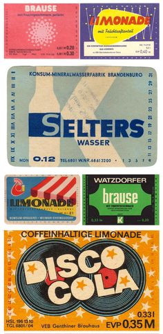 Old German drinks labels. How good does disco cola sound?