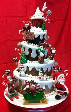 Christmas Cake, reindeer, penguins, Santa, sled