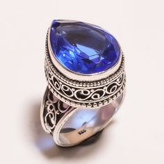 Faceted Tanzanite Quartz .925 Silver Hand Carving  Ring Size7 Jewelry SJA765…