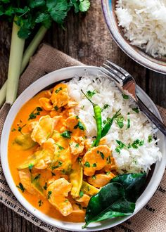 This Thai Red Chicken Curry is incredibly delicious, easy to make with bite size chicken pieces, snow peas and simmered in a red curry and coconut milk sauce.