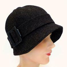Herringbone tweed 1920s style cloche hat