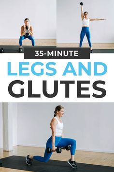 Build muscle in your legs and butt with this dumbbell Legs and Glutes Workout At Home! Do these 12 leg exercises that strengthen the glutes -- from squats and lunges, to deadlifts and glute bridges. A 35-minute leg and butt workout routine for all fitness levels. Go straight from lower body strength exercises into squat holds, dumbbell swings, power lunges and frog pumps. It's a spicy leg day! This workout video is DAY 3 of our SplitStrong 35: FREE 2-Week Workout Program at home with dumbbells! 5 Day Workout Split, Leg And Back Workout, 2 Week Workout, Leg Butt Workout, Push Workout, Best Leg Workout, Leg Workout At Home, At Home Workouts, Body Workouts