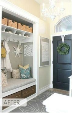 I like this as an alternative spot for a bench and coats if the laundry room isn't an option!