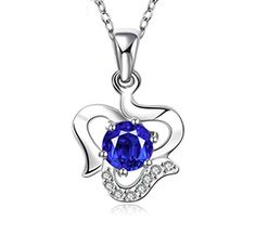 Fashion Silver Plated Imitation Zircon Pendant Necklace Set Nice Gift for Girls (1) (Blue)