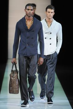 Giorgio Armani Men's RTW Spring 2013  (He can put that bag right down & I will carry it off lol.)