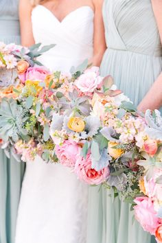Colorful dusty miller and ranunculus wedding bouquets: Colorful Charleston Wedding