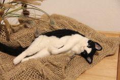 Needle felted sleeping cat by Midofelt.