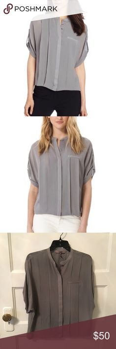 Halston Heritage blouse 100% silk blouse from Halston Heritage. Short Sleeve, Button Front Detail, Bubble Hem. Gently worn and in perfect condition. Halston Heritage Tops