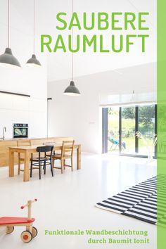 Investieren Sie in Ihre Gesundheit. Baumit Ionit ist die weltweit einzige funktionale Wandbeschichtung - bestehend aus Baumit IonitColor und Baumit IonitSpachtel - die eine hohe Luftionenkonzentration schafft. #baumit #baumitionit #gesundeswohnen #gesundewohnräume #innenräume #raumklima #raumklimaverbessern #wohnraum  #behaglichwohnen #raumluft #gesunderaumluft #gesunderschlaf #saubereraumluft Modern Decor, Living Room Decor, Kids Rugs, Anime, Home Decor, Investing, Architectural Materials, Paint, Health